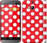 """Чехол на HTC One M8 dual sim Красный горошек """"2909c-55"""""""