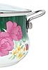 Кастрюля эмалированная с крышкой Benson BN-114 белая с цветочным декором (4.8 л), фото 2