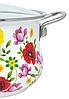 Кастрюля эмалированная с крышкой Benson BN-116 белая с цветочным декором (1,9 л), фото 2