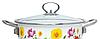 Кастрюля эмалированная с крышкой Benson BN-116 белая с цветочным декором (1,9 л), фото 5