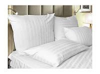 Семейный комплект постельного белья, страйп сатин белый.