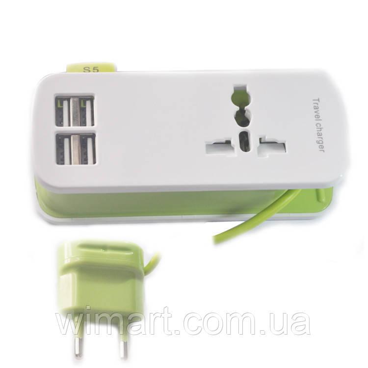 Подовжувач 4 USB Charger (1.5 м.), зелений