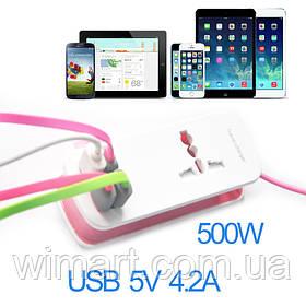 Удлинитель 1.5м, 4 USB Charger, розовый