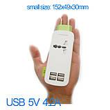 Подовжувач 4 USB Charger (1.5 м.), зелений, фото 5