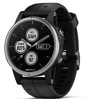 Спортивные часы Garmin fenix 5S Plus, Glass, Silver w/Black Bnd, GPS Watch, EMEA (010-01987-21)
