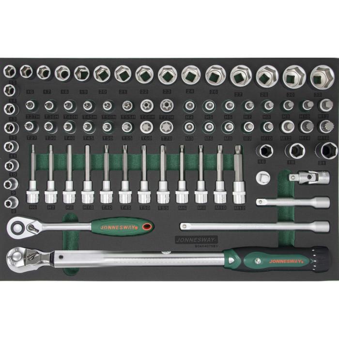 """Набір інструментів 75 одиниць (головки 1/2"""" і динамометричний ключ) Jonnesway S04H4075SV (Тайвань)"""