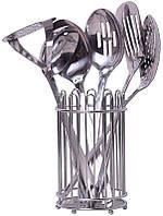 Набор кухонных аксессуаров Kamille Crystal 6 предметов в металлическом стакане