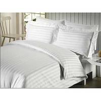 Двуспальный комплект постельного белья, страйп сатин белый.