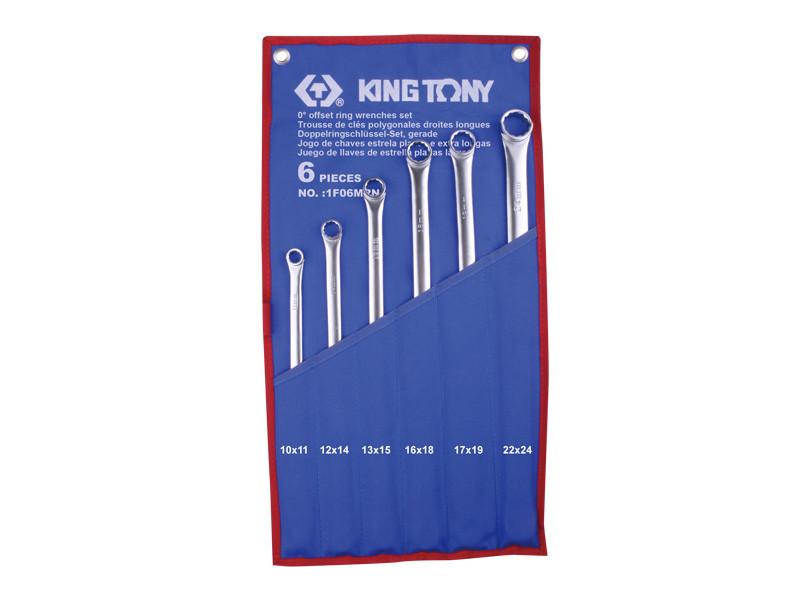 Набор ключей накидных 6 ед супердлинных прямых KING TONY 1F06MRN (Тайвань)