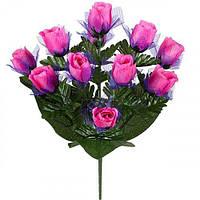 Искусственные цветы букет бутоны роз с фатином, 51см