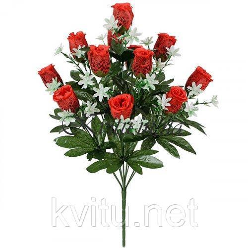 Искусственные цветы букет бутоны роз Рябчики, 55см