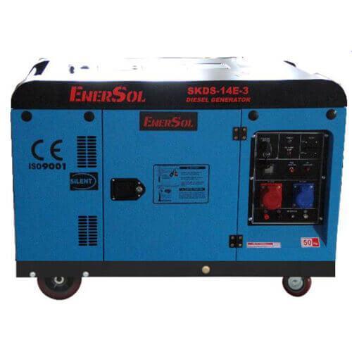 Дизельный трехфазный генератор мощностью 12 кВА EnerSol SKDS-14E(B)-3
