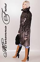Женская шуба из искусственной норки, Коричневая норка № 51