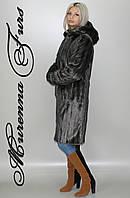 Женская шуба из искусственной норки, Серая норка № 52