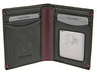 Мужской кожаный кошелек для кредитных карт Visconti AP-60 Thun black burgundy