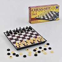 Шахматы 2 в 1, шашки, магнитные- 187009