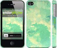 """Чехол на iPhone 4 Зеленые волны """"2696c-15"""""""
