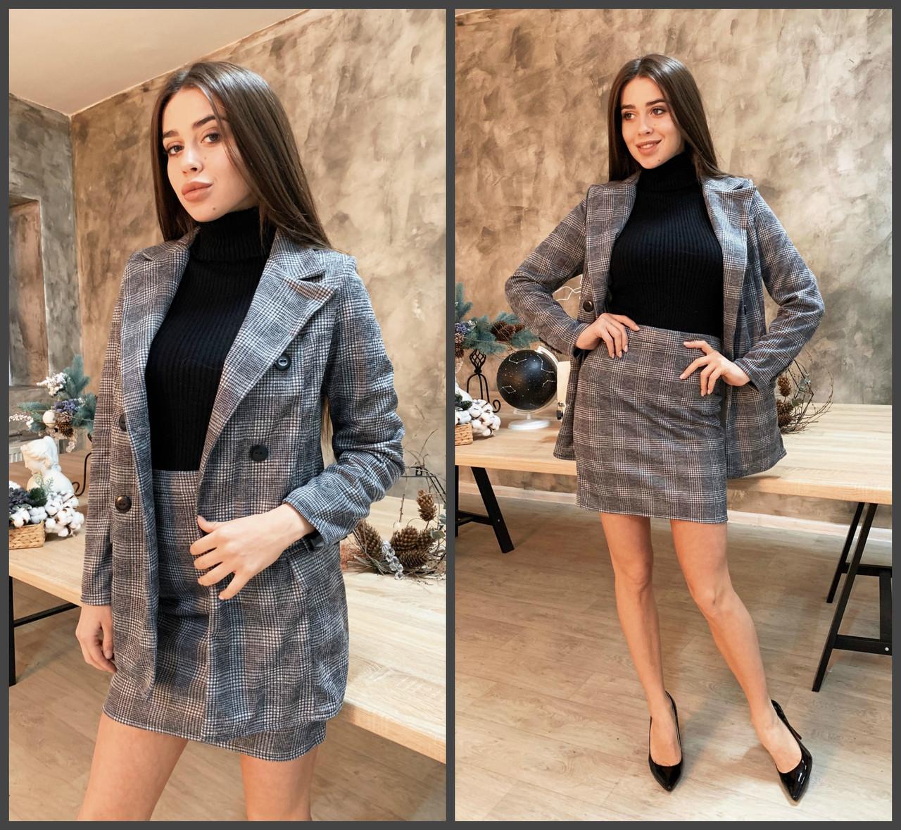 Костюм двойка женский, в клетку трикотажный, удлиненный пиджак + юбка, повседневный, офисный, модный, стильный
