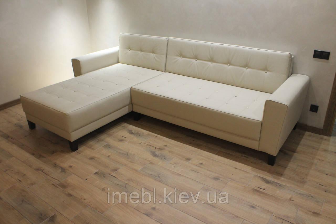 Шкіряний кутовий диван в офіс (Молочний)