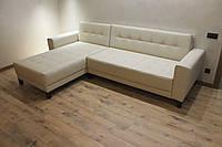 Шкіряний кутовий диван в офіс (Молочний), фото 1