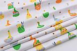 """Отрез ткани """"Пасхальные курочки и кролики"""" на белом фоне №2135а, размер 64*160, фото 3"""