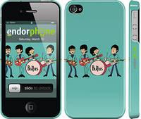 """Чехол на iPhone 4s Битлз на бирюзовом фоне """"179c-12"""""""