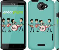 """Чехол на HTC One X Битлз на бирюзовом фоне """"179c-42"""""""