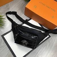 Брендовая Мужская бананка Versace черная Качество поясная сумка на пояс VIP Молодежная Версаче реплика