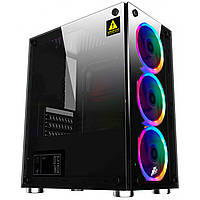 Компьютерный корпус 1stPlayer X2-R1 Color LED Black закаленное стекло Miditower microATX для ПК без БП