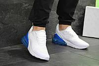 Кроссовки мужские Nike Air Max 270 весенние из текстиля, найки на шнуровке, белые с синим, ТОП-реплика