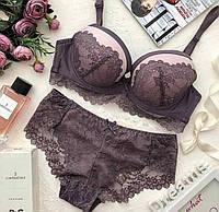 Красивое женское нижнее белье, тонкий поролон  weiyesi  80С ,сливовый цвет