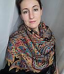 Печатный пряник 356-19, павлопосадский платок (шаль) из уплотненной шерсти с шелковой вязанной бахромой, фото 4