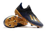 Футбольные бутсы adidas X 19.1 FG Core Black/Gold Metallic/Blue, фото 1