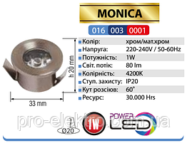 """""""MONICA""""Світильник врізний коло, ip20 1W 2700K/4200K/6400K 80Lm,колір-мат.хром/хром(220-240) (016-003-0001-060)"""