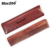 Гребень для бороды и волос Blue ZOO из сандалового дерева с коричневым чехлом