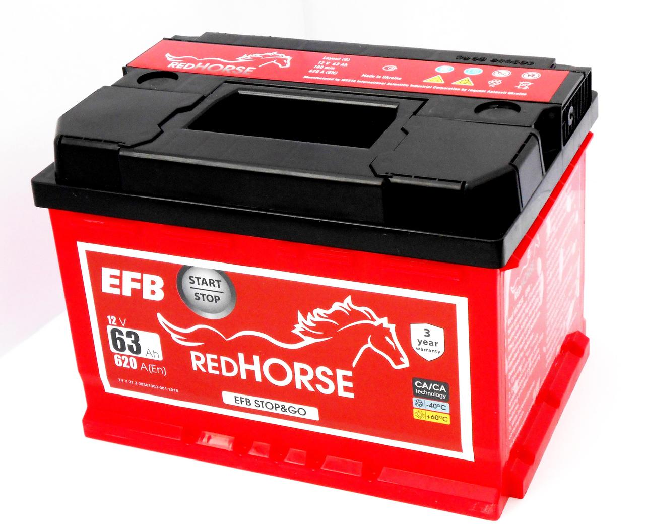Акумулятор аавтомобільний RED HORSE EFB 63-0 (R+) (620А)