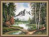 Гобеленова Картина Гірська долина 400х600мм в багетній рамі №G308