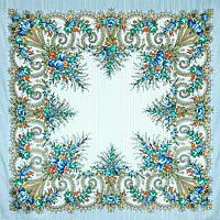 Лариса 322-8, павлопосадский платок шерстяной (с просновками) с шелковой бахромой