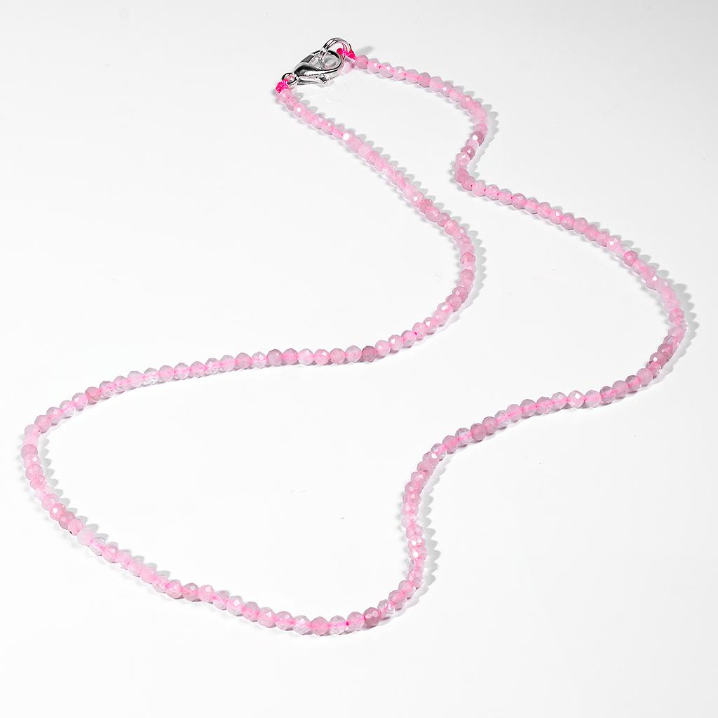 Бусы шнурок из розового кварца, Ø2,0 мм., 41 см., 202ОР