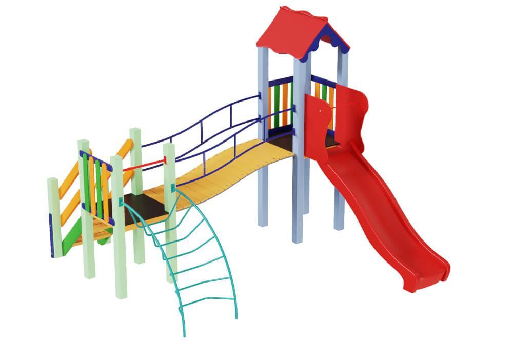 Детский комплекс Месяц с пластиковой горкой Kidigo