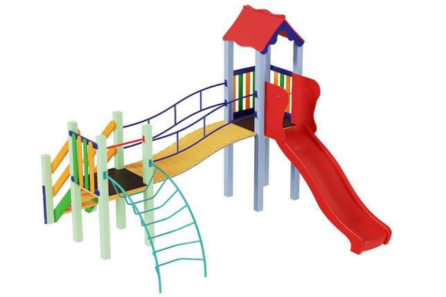 Детский комплекс Месяц с пластиковой горкой Kidigo, фото 2