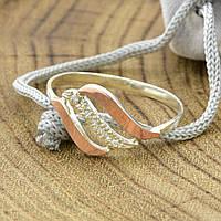 Серебряное кольцо с золотом Фаина вставка белые фианиты вес 1.5 г размер 19