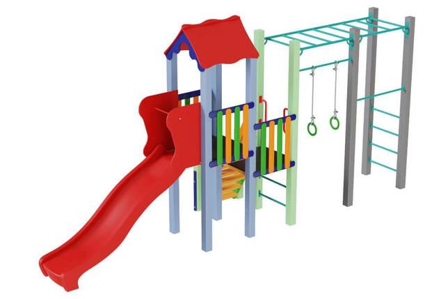 Детский комплекс Котик с пластиковой горкой Kidigo, фото 2