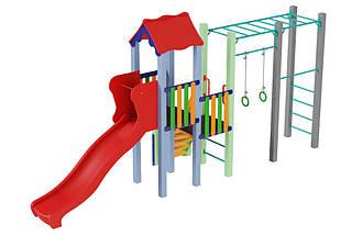 Детский комплекс Котик с пластиковой горкой Kidigo