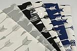 Лоскут ткани с белыми стрелами на синем фоне (№ 592а), размер 79*30 см., фото 3