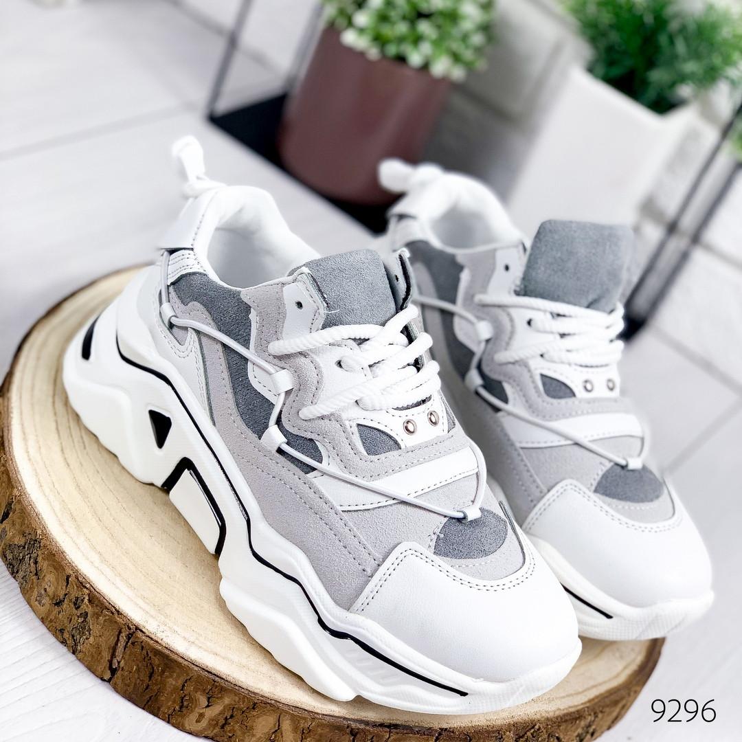 Светлые женские кроссовки комбинация 12\9296
