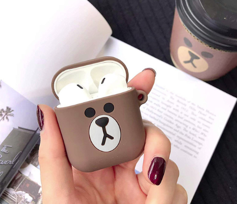 Мультяшний чохол Ведмедик IQEA для навушників Apple AirPods TWS i10 i12 i13 Bluetooth Silicone Case
