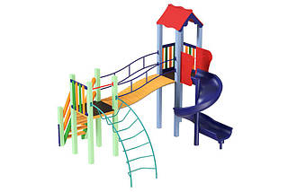 Детский комплекс Месяц с пластиковой горкой Спираль Kidigo