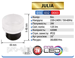 """""""JULIA""""Світильник врізний коло,корпус метал d-44mm ip 20 COB LED 3W 4200K 125Lm, колір - білий (220-240v)"""