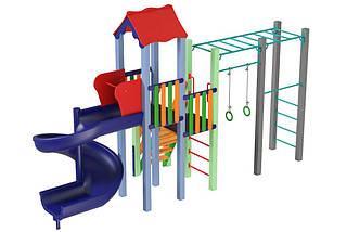 Детский комплекс Котик с пластиковой горкой Спираль Kidigo